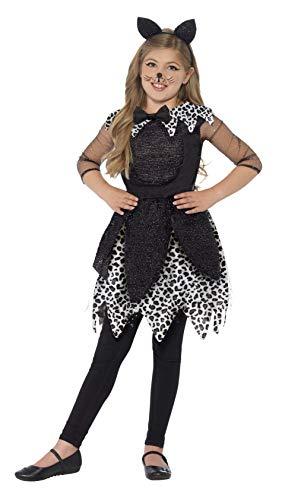 Kostüm Kid Katze - Smiffys Kinder Mädchen Midnight Katze Deluxe Kostüm, Kleid, Schwanz und Haarreif, Größe: M, 44287