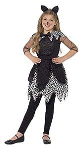 Smiffys-44287S Disfraz de Gata de Medianoche, con Vestido, Cola y Diadema con Orejas de, Color Negro, S-Edad 4-6 años (Smiffy