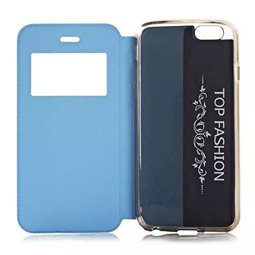iPhone Case Cover fenster lederetui knistern stil lederetui mit stehen design für iphone 6 65 ( Color : Sky Blue , Size : IPhone 6 6s ) Blue