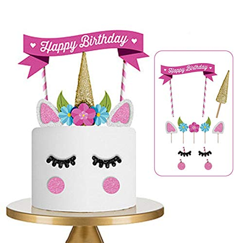 lies - 1 Set Unicorn Cake Per Cupcake Insert Card Party Decoration Happy Birthday Flag Banner Baby Children - Camping Colors Sprinkles Computers Round Icing Viporama Cor ()