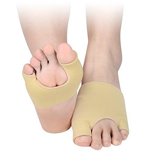 Soumit traspirante ispessita avampiede cuscini l (eu 40-45), morbido elastico protettore metatarso cuscinetti con silice gel interno, plantare forma di u mezza calzini pastiglie per dolore rilievo
