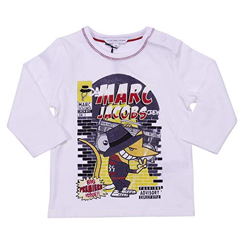 Little Marc Jacobs Baby Boy T-Shirt Bianca in Jersey di Cotone Mod. W05245117 6M