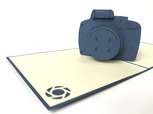 Geburtstagskarte: Blau Digital Kamera 3D Pop-Up Grußkarte, Kirigami Celebration, Papier, Craft Geschenk
