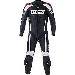 mono de piel para moto hombres ,Spyke Kaver Race (50, Negro/Blanco/Rojo)