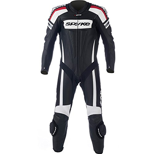 mono de piel para moto hombres,Spyke Kaver Race (60, Negro/Blanco/Rojo)