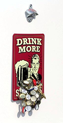 Flaschenöffner für Wand-Montage / Bier-Öffner mit Magnet - Falle / Magnet-Fang + Blechschild