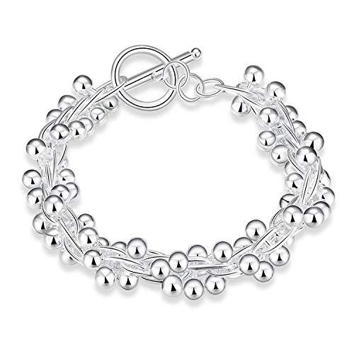 LCSLDW Damen Armband,Silber Schmuck Kette Armband Für Frauen Mode Perlen Armbänder & Armreifen Hochzeit Geschenke Kostüm - Kostüm Armbänder Schmuck