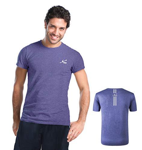 Yirui Sport T-Shirt Herren Gym Top Schnelltrocknend Atmungsaktiv Anti-Geruch UV40+ Kurzarm Laufen Tee (Lila Melange XL) -