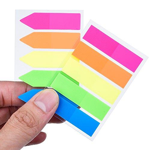 Antner 12 Sets Neón Marcadores de Página Coloreado Indizar Tabs Banderas Notas Adhesivas,1200 Piezas