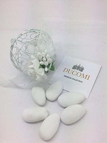 Ducomi bomboniere per comunione, matrimonio, battesimo, laurea e cresima in stile lusso vintage - set di 12 portaconfetti originali - sfera in latta con decorazione fiori e tulle, fai da te