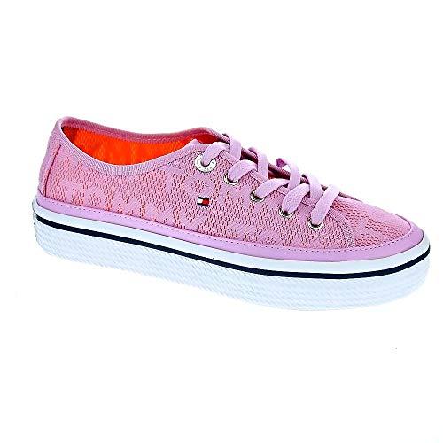 ac744d6eb Tommy Hilfiger Women's Jacquard Flatform Lace Trainer  Pink/Lavender-Lavender-4 Size 4