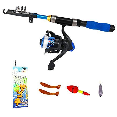Ecisi Kinder Angelrute, Anfänger Mini tragbare Angelrute Set, leichte und tragbare Teleskop-Angelrute und Reel Combos für die Jugend Angeln