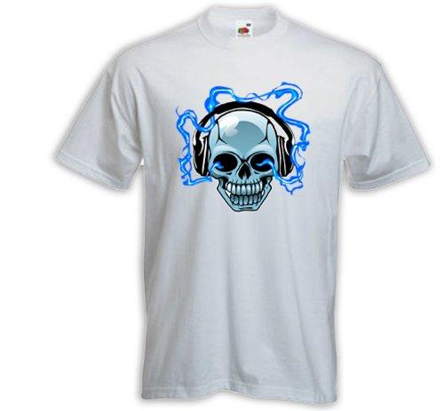 T-Shirt DJ Skull weiß Music Gitarre Totenkopf Heavy Metal Rock Weiß