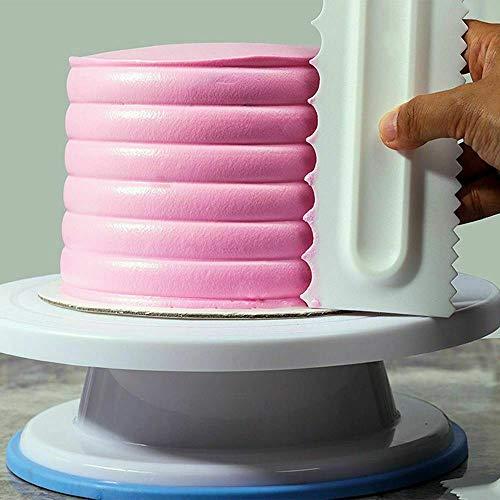 Hunpta@ Cake Combs Gebäck-Zuckerguss-Kammsatz Kunststoff-Kuchenschaber Fondant-Spatel Backenwerkzeuge DIY-Kuchen verzieren Spatel,Gourmet-Kunststoff-Sägezahn-Kuchenschaber (Weiß)