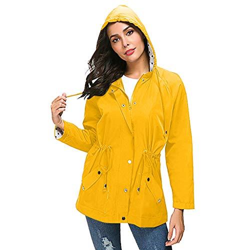 TYTUOO Regenmantel Jacke für Frauen Plus Size Outdoor wasserdichte leichte Regenjacke mit Kapuze Regenmantel Mantel -
