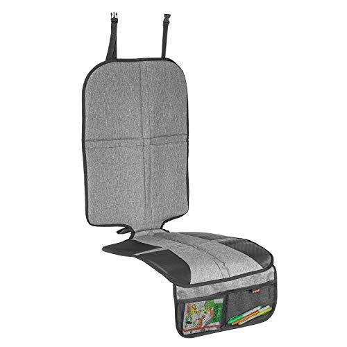 Kindersitz-Unterlage TravelKid MaxiProtect, Autositz-Schutzunterlage mit Rückenlehnen-Schutz, rutschfeste Unterlage, ISOFIX geeignet, für alle herkömmlichen Modelle, grau