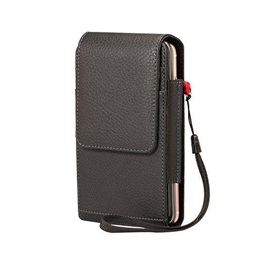 Premium PU Leder Vertikal Fall Zwei Handys Tasche, Gürtelclip Holster Tasche für iPhone 8Plus/iPhone X/Motorola Moto G6/G6Plus/G6Play/E5plus/E5/Z3Play/HTC U12+/Desire 12 - Motorola Handy X Entsperrt