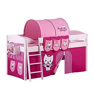 Lilokids Spielbett IDA 4105 Angel Cat Sugar-Teilbares Systemhochbett weiß-mit Vorhang Kinderbett, Holz, 208 x 98 x 113 cm