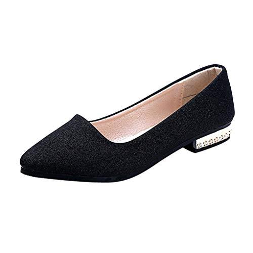 Zapatos Mujer,Mujeres Lentejuelas Deslizamiento Poco Profundo en Zapatos de tacón bajo de Fiesta Plana Punta de un Solo Zapato