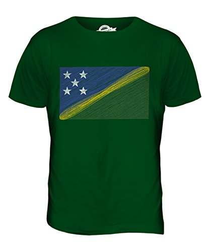 CandyMix Isole Salomone Bandiera Scarabocchio T-Shirt da Uomo Maglietta Verde bottiglia