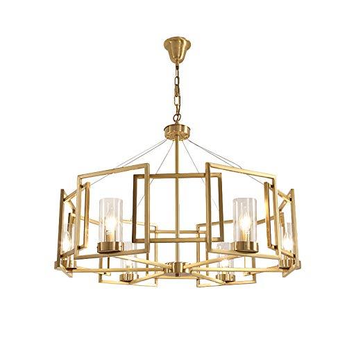 AZW@ Lustre De Restaurant, Lustre De Salon Moderne Intérieur De Chambre D'Hôtel, Lustre Créatif en Fer Forgé, Grandes Lampes,d'or,8 têtes