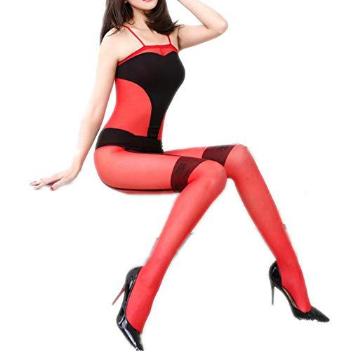 Nachtwäsche & Bademäntel für DamenSexy Pyjama Sexy Dessous Teddies Bodysuits Kostüme Exotic Red Siamese Transparente Strümpfe Sexy Jacquard Strümpfe Schlauch Sexy Unterwäsche One_Size (Dobby Kostüm Baby)