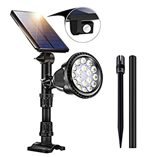 Solar Lights Outdoor with PIR Motion Sensor, 18 LED Spotlight 4 Lighting Modes Adjustable Solar Panel Outdoor Security Lights for Garden Yard Driveway Pathway Patio Lawn Backyard (1 Pack)