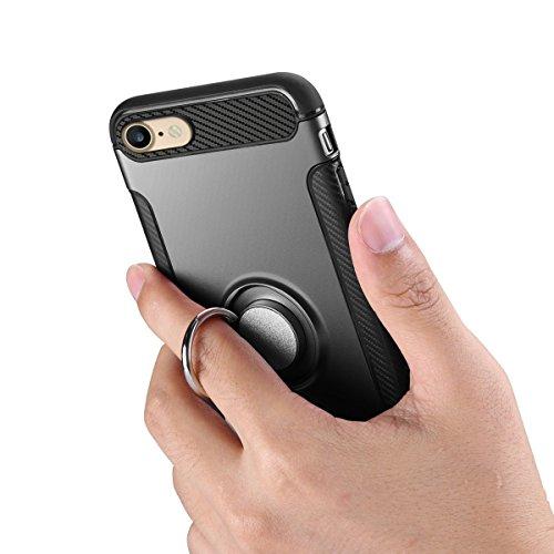 iPhone 7 Custodia, HICASER 2 in 1 Ibrida Rigida Morbido Armatura Resistente agli urti Case TPU + PC con Supporto Dellanello Protettiva Custodia per iPhone 7 4.7 Rose Oro Nero