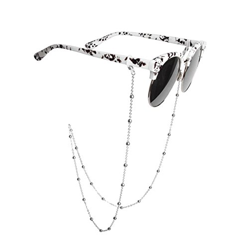 Catenella in metallo per occhiali da donna con occhiello, antiscivolo, retrò, con perline