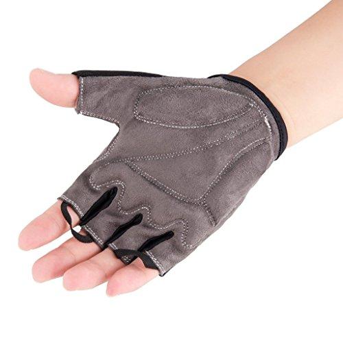 iCreat Damen / Herren Kurze Rennrad Handschuhe Power Fahrrad Active Gloves mit Geleinlage Schwarz, Größe XL - 5