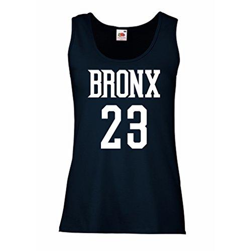 Serbatoio,Maglietta senza maniche femminile Bronx 23 - Moda in stile di strada Azzulo Bianco