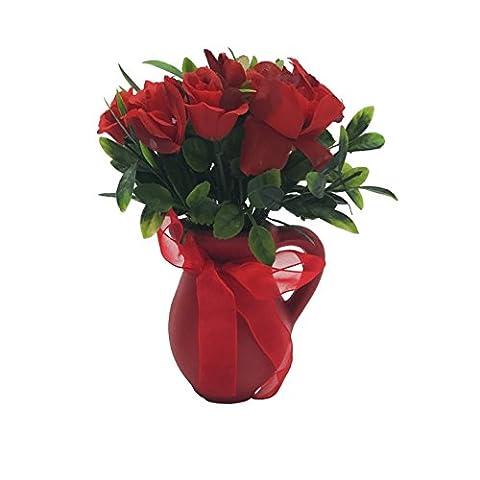 ChosenTech künstliche gefälschte Blumen mit Keramik-Behälter-Flasche, Kunststoff Blume mit Fliege Griff Keramik Vase für Geschenk, Arrangements Braut, Haus, Schlafzimmer, Boden, Garten, Büro, Hochzeit, Party & Decor (Rot)