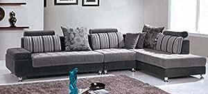Divano salotto angolare in tessuto grigio e nero