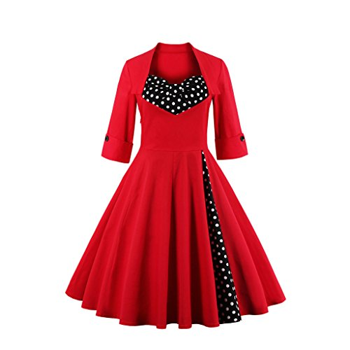 Dissa M1323 femme Rockabilly Robe de Soiré cocktail Robe de Bal Retro Rouge