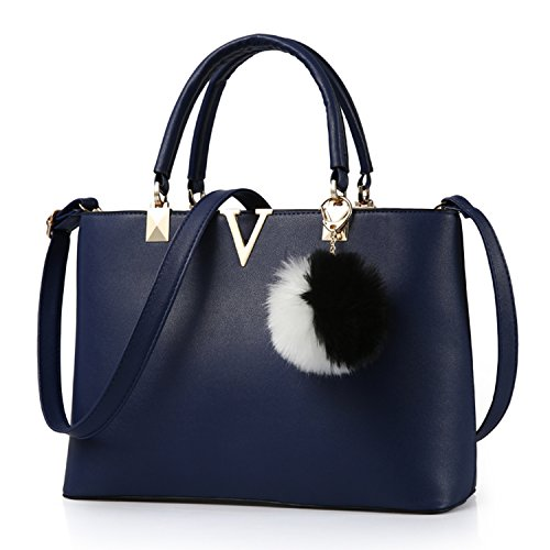 Byd Pu In Pelle Donna Borsa Handbag A Spalla Borse Mano Tote Bag Shoulder Con Mutil Tasche Blu nbsp;scuro