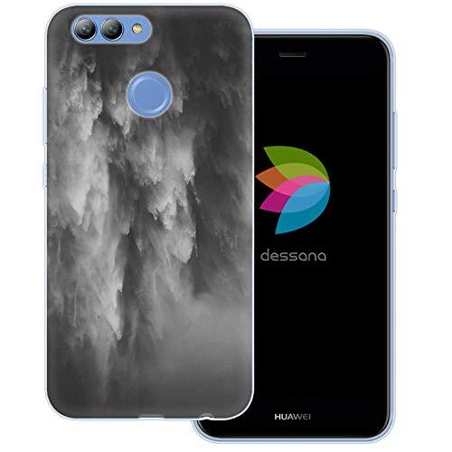 dessana Black & White Transparente Schutzhülle Handy Case Cover Tasche für Huawei Nova 2 Wasserfall Schwarz Weiß -
