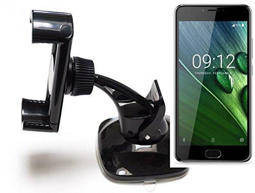 K-S-Trade Für Acer Liquid Z6 Plus kompakte Halterung Windschutzscheibe/Armaturenbrett schwarz Autohalterung KFZ Halter Scheiben-Halterung Armaturenbrett-Halter für Acer Liquid Z6 Plus