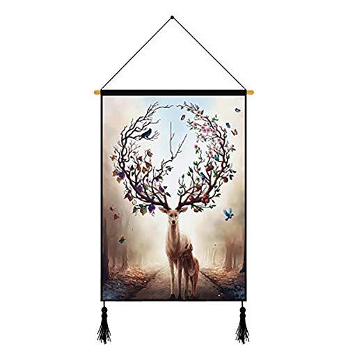 BIGBOBA Wand Kuns Hirsch hängendes Bild dekorative Malerei Moderne Kunst Malerei für Zuhause, Büro, 45 × 65cm, 5#