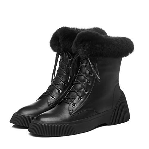 Botas de mujer Zapatos de plataforma de invierno de invierno Botas de cuña Botas de terciopelo Martin Botas de cordones con cordones planas Botines cálidos Beige Negro ( Color : Negro , tamaño : 35 )