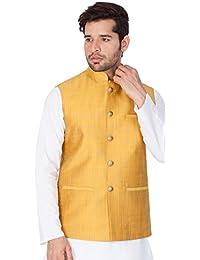 754a16347cabaa Vastramay Mens Cotton Blend Nehru Jackets (Gold VASMJ008YW)