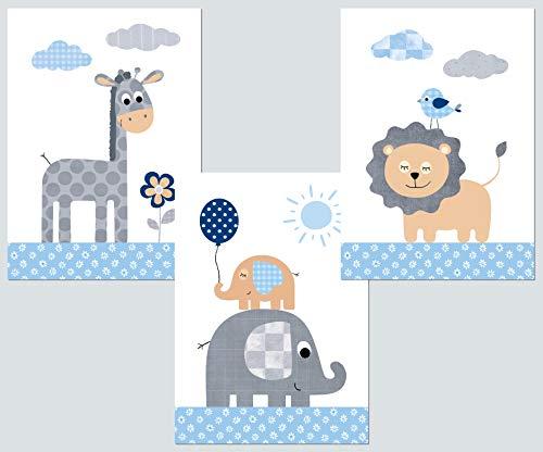 Kinderzimmer Deko - Poster Set 3x DIN A4 - Babyzimmer Deko Bilder Kinder Baby Mädchen Junge (blau-grau 1)