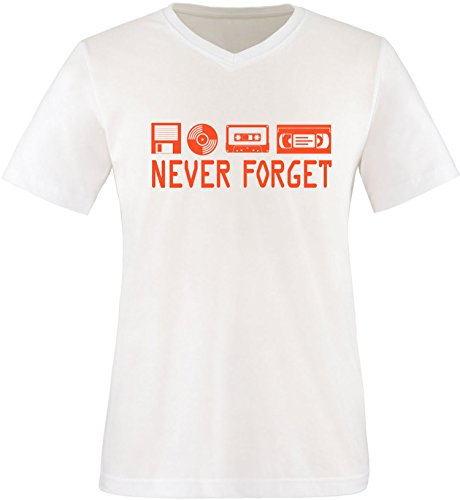 EZYshirt® Never forget Herren V-Neck T-Shirt Weiss/Orange