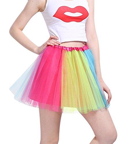 ü Minirock Organza Pettiskirt 3 Layers Petticoat Tanzkleid Unterrock Perfekt für Fasching (Bunt) (Frauen Tanzkleider Kostüme)