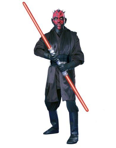 Star Wars Herren Kostüm Darth Maul Set, 4 Stück, Large, Brust: 106,9 111.76 cm, Hüftumfang: 86,4 cm; Innennaht 83.82 91.44 (Gürtel Darth Maul)