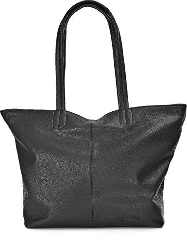 PHIL+SOPHIE, Cntmp, Damen Handtaschen, Shopper, Trend-Bags, Henkeltaschen, Leder Taschen, 45x29x16 cm (B x H x T), Farbe:Schwarz