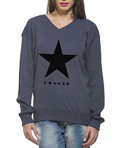 Clifton Women's Printed Sweat Shirt V-neck-navy Melange-Black Star-XL