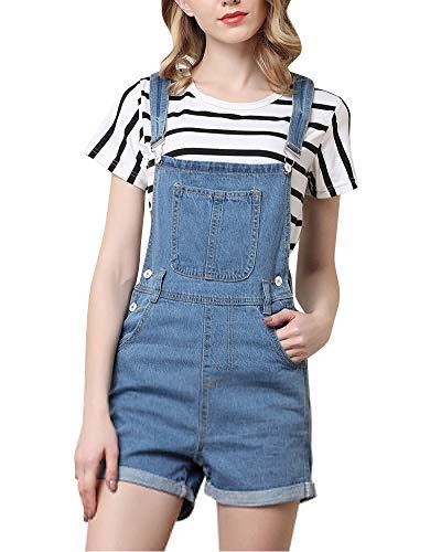 Mujer Peto Cortos Pantalones Mono De Jeans Vintage Azul L