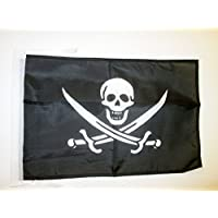AZ FLAG Pirate Jack Rackham Flag 18'' x 12'' Cords - Pirates Small Flags 30 x 45cm - Banner 18x12 in