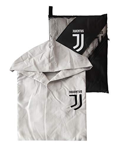 Accappatoio con cappuccio in microfibra ufficiale fc juventus nuovo logo tg s m l xl xxl bianco nero con sacca uomo ragazzo (m - 46/48)