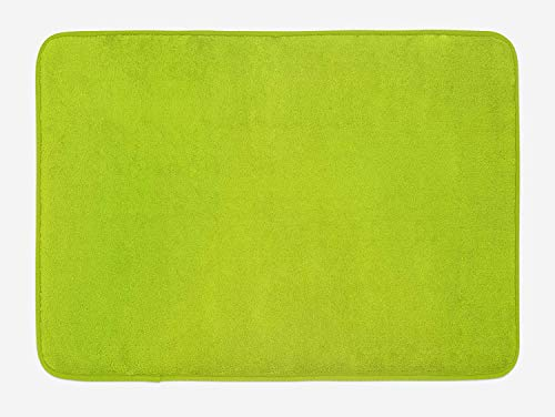 Lime Green Bath Mat, Empty Backdrop Blurry Off Focus Pastel Toned Shade  Color Spring Theme Abstract, Plush Bathroom Decor Mat with Non Slip  Backing,